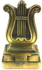 """MUSICAL INSTRUMENT HARP  MUSIC NOTE SIGN Brass 5"""" Tall BOOKEND"""