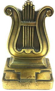 "Musical Instrument Note Brass Bookend by PM Craftsman Harp Music Sign 5"" Tall"