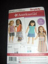 """18""""Doll American Girl NEW Simplicity 8040/0170 Pattern 4 Summer Outfits"""