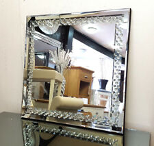 Floating Crystal Square Wall Mirror Elegent Glass Diamond Frame Bevelled 60x60cm