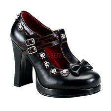 """CRYPTO-06 4"""" DOUBLE BAND T-STRAP GOTH BIKER SKULL ACCENT CASUAL PLATFORM PUMP"""