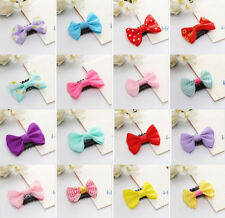 10 PCS Kids Baby Girl's Mixed Colors Ribbon Hair Bow Mini Latch Clips Hair Clip