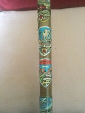 Old Walking Stick With Applied Enamel And Metal Austrian Tourist Plaques