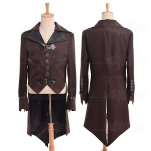 Steampunk Mens Swallow-tailed Coat Tail Coat Victorian Overcoat Outwear Aviator