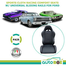 Ford Falcon XR XT XW XY XA XB XC XD XE XF EL Cloth Seats Pair w/ Sliding Rails