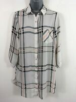 WOMENS DOROTHY PERKINS PEACH GREY SHEER BUTTON UP 3/4 SLEEVE BLOUSE SHIRT UK 10