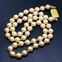 Monet Costume Necklace Vintage Faux pearls knotted Signed
