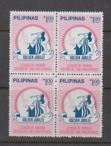 Philippine Stamps 1987 League of Women's Voters 50th Ann, Block of 4, complete