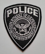 NOVELTY MILITARY SEW ON / IRON ON PATCH:- POLICE (b) BLACK & WHITE SHIELD b