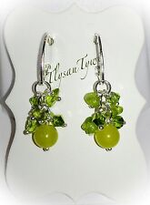 Peridot Gemstone & Crystal Cluster Earrings...Silver Plated ..Olive/Lime Green