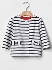 GAP Baby Girls NWT Size 0-3 Months White Navy Blue Nautical Bow Jacket Cardigan