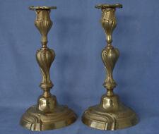 Paire de Flambeaux en Bronze Doré Style Louis XV Rocaille  Candlesticks
