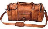"20"" Genuine Leather Duffle Bag Men Overnight Flight Carry On Travel Luggage Gym"