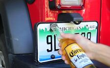 Rear License Plate Mounted Bottle Opener Accessory for Jeep Wrangler JK Models