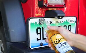 Rear License Plate Mounted Bottle Opener Accessory for Jeep Wrangler TJ Models