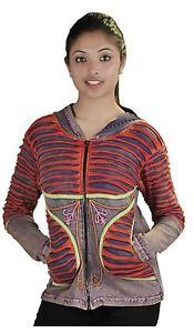 WOMEN MULTICOLORED STONE WASH COTTON CARDIGAN WITH ATTACHED HOOD !