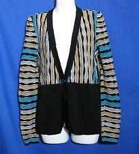 Misook Size XS Jacket Black Beige Turquoise New NWT