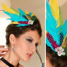 Bright Color Feather Wedding Fascinator Hat CZ Crystal Headband Derby Easter OS