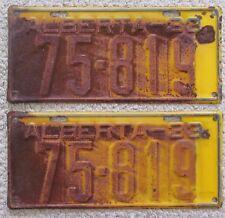 Alberta 1933 License Plate PAIR # 75-819