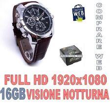 OROLOGIO SPIA 16GB FULLHD PELLE INFRAROSSO VISIONE NOTTURNA SPY MICROSPIA - CW66