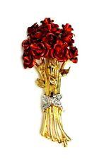 Diamonds Rose Bouquet Pendant Brooch Gold plated