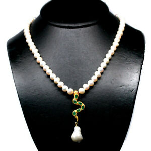 """NATURAL GREEN EMERALD RUBY & 9-8 mm. WHITE PEARL NECKLACE 19"""" 925 SILVER"""