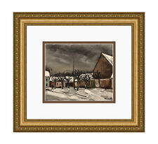 "VLAMINCK SIGNED 1958 Limited Lithograph ""Les Tilleuls Winter"" Framed Limited COA"