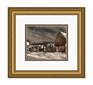 """Limited 1958 VLAMINCK SIGNED Lithograph """"Winter Les Tilleuls"""" Framed SIGNED COA"""
