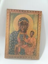 Mother of God,Black Madonna  Painted Icon on Wood (sell as is) #A