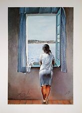 SALVADOR DALI HAND SIGNED * GIRL STANDING AT THE WINDOW *  COLORPLATE W/C.O.A.