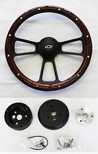 "60-69 Chevy Truck Steering Wheel Mahogany Wood with Black Spokes 14"" Bowtie Cap"