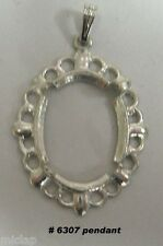Pendant setting 18x13mm oval cabochon no stone silver tone 4 prong mounting 6307