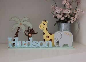 Elephant Nursery Decor, Bedroom Name Sign PERSONALISED Baby Gift Safari Nursery