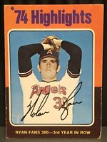 1975 Topps Nolan Ryan baseball card California Angels G #4MLB HOF Highlights