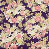Japanese oriental metallic gold Sakura Cranes fabric cotton fat quarter FQ F0058