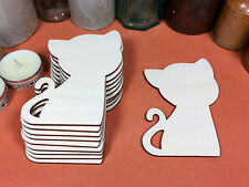 WOODEN CAT CURLY Shapes 11.7cm (x10) laser cut wood cutouts crafts blank shape