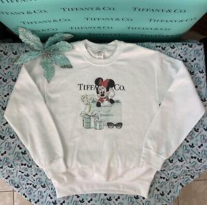 TiffanyCo Minnie Mouse Sweatshirt Blue Box White Graphic Disney Womens SZ S SALE