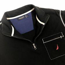 Nautica 1/4 Zip Pullover Shirt Mens Large Black White Trim Red Logo Sailing