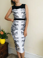 Reihan Ted Baker Pencil Wiggle Midi Dress Black White 2 Uk 10 Fitted Floral