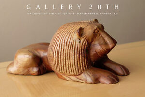 MAGNIFICENT LION SCULPTURE! HANDCARVED MODERN ART! OOAK WOOD LEO COOL CAT FELINE