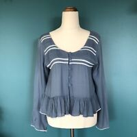 LILYA Dusty Blue Cropped Button Up Long Sleeve Blouse Top Size XS 8 Ruffle Boho