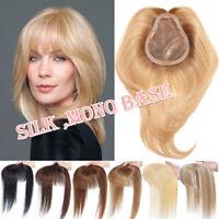 150% Mono Silk Base Women's Clip In Hairpiece 100% Remy Human Hair Toupee Topper