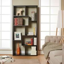 8-Shelf Bookcase Kamille Walnut Vertically or Horizontally Office Bedroom New