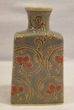 """Vintage Floral Flowers Ceramic Bottle Decoration Pink/Blue - 6"""" Tall"""