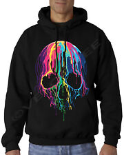Velocitee Mens Hoodie Colourful Melting Skull A19423