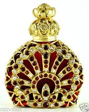 Gold Tone Filigree Vintage Vanity Perfume Bottle Red Rubin Color Glass Crystal