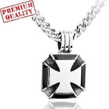 Vintage Cross of Iron Titanium Stainless Steel Men's Pendant with Necklace