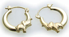 Children Hoop Earrings Elephant 3D Real Gold 333 Clips Yellow Quality