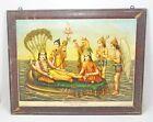 Vintage Original Old Litho Print God Vishnu Shree Sheshashai Vasudeo Pandya