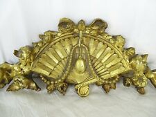"16"" Antique French Gilded Bronze Furniture Pediment Decoration -Fan Ribbon Roses"